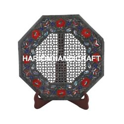 12'' Marble Table Coffee Top Floral With Lattice Rare Inlaid Bedroom Decor M075
