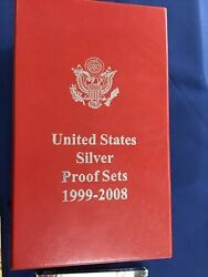 1999 To 2008-s Us Silver Proof Sets Complete Run Of 10 Sets E6576