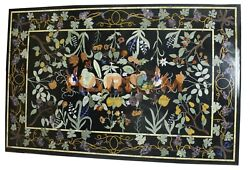 2.5and039x4and039 Marble Dining Table Top Gemstone Grapes Inlay Art Restaurant Decor B694