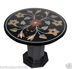 23 Black Marble Round Side Table Top With Stand Hakik Mosaic Home Decor H767a