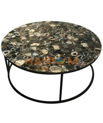 42x42 Black Agate Stone Top Dining Table With 18 Stand Cafeteria Decors A087b