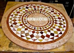 Marble Kitchen Dining Top Table Inlaid Work Mosaic Stone Collectible Decorative