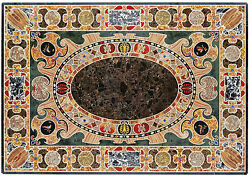4and039x4and039 Marble Dining Center Table Top Inlay Scagliola Garden Decor Furniture Arts