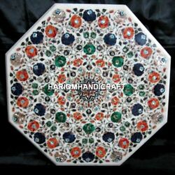 Marble Dining Center Table Top Mosaic Floral Inlaid Design Home Rare Arts H3409