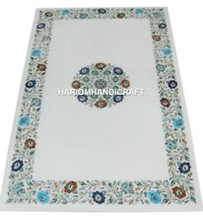 Marble Dining Table Top Mosaic Intricate Lapis Inlaid Marquetry Decor Arts H1920