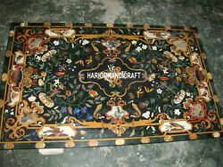 4and039x3and039 Green Marble Dining Table Inlaid Scagliola Kitchen Marquetry Decor H3140