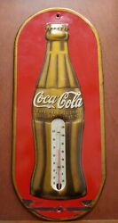 Aa44 1938 Coca Cola Anniversary Thermometer Sign W/ Embossed Christmas Bottle