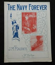 1917 The Navy Forever Wwi Sheet Music Statue Of Liberty Battleship Nice