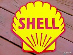 Shell Oil Gas Sign Gasoline Old Vintage 1960and039s Advertising Antique Gas Pump Sign