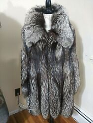 Russian Silver Fox Fur Swinger Coat Jacket.massive Soft Thick Pelts.italy.xlg.