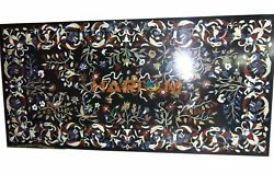 6and039x3and039 Dining Black Marble Table Top Marquetry Inlay Office Conference Decor B313