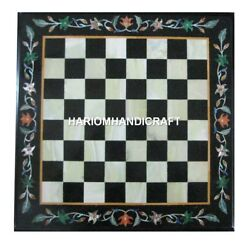 Black Marble Coffee Chess Table Top Mosaic Inlaid Marquetry Art Home Decor H1927