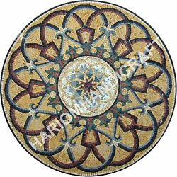 36 Round Mable Dining Table Top Mosaic Inlay Art Interior Furniture Decor E929