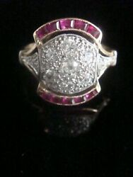 Art Deco 18ct Platinum French Calibre Cut Ruby And Old Cut Diamond 0.70ct Cluster