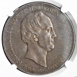 1854 Saxony Frederick Augustus Ii. Silver Mourning 2 Thaler Coin. Ngc Au-58