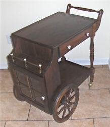 Vintage 1980and039s ..yield House Pine Tea Cart W/glass Cupboard Drop Leaf