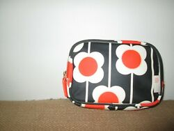 New ORLA KIELY Etc Navy amp; Red Mod Flower Floral Small Cosmetic Zip Bag Case $22.39