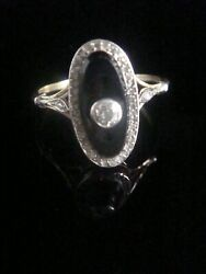 French Edwardian 18ct Platinum Onyx And Rose Cut Diamond Oval Ring