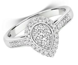 Diamond Pear Halo Ring White Gold Engagement Cluster Certificate Sizes J - Q