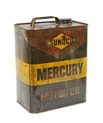 Vintage Sunoco Mercury Motor Oil 2 Gallon Tin Litho Advertising Can With Cap