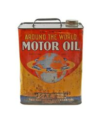 Vintage Around The World Motor Oil 2 Gallon Tin Litho Advertising Can With Cap