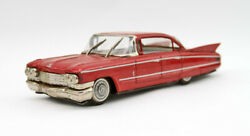 Vintage Japan Yonezawa Red Cadillac Friction Car Tin Litho Toy - Moving Wipers