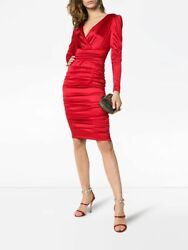 New Dolce And Gabbana Red Stretch Satin Silk Ruched V-neck Midi Dress It50 Us14