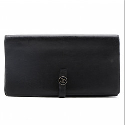 Coco Button Bifold Wallet, Black, Caviar Leather, Good Condition