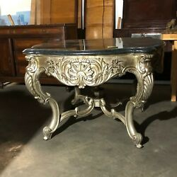 Henredon Occasional Table With Marble Top And Ornate Carving Around Legsandnbsp