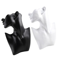 2pc Necklace Earring Bust Jewelry Display Stand Mannequin For Retail Black/white