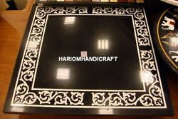 Black Marble Side Console Table Top Indian Mother Of Pearl Inlay Stone Art H4377