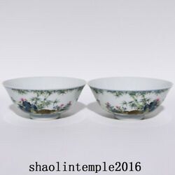 A Pair China The Qing Dynasty Enamel Flower And Bird Pattern Bowl