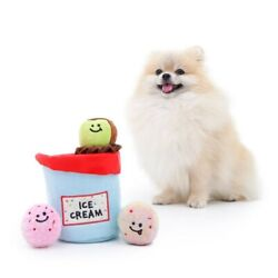 Ice Cream Pint Dog Toy, Dog Chew Toys, Lighting Balls, Squeaker - Durable Rubber