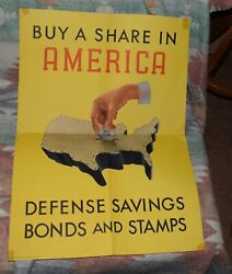 1941 Wwii Vintage Poster Buy A Share In America Defense Savings Bonds Stamps S8