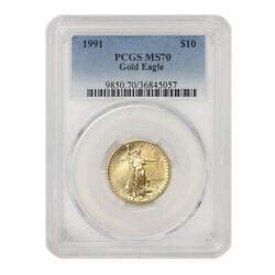 1991 10 Gold Eagle Pcgs Ms70 American 22 Kt 1/4 Oz Bullion Coin Low Pop Of 60