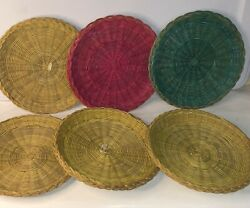 6 Vintage Wicker Straw Rattan Woven Paper Plate Holders 10 Camping Bbq Picnic