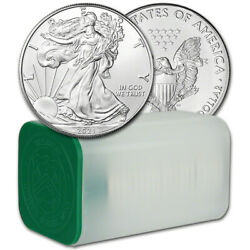 2021 American Silver Eagle 1 oz $1 1 Roll Twenty 20 BU Coins in Mint Tube $760.69