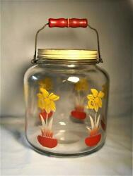 Vintage Daffodil Glass 1 Gallon Jar W/ Bale Wire Red Wood Handle And Lid  ...18