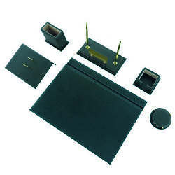 Calme-n 8 Tlg Office Desk Set Leather Table Name Tag Made Of Metal Green Color