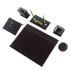 Calme-n 8 Tlg Office Desk Set Leather Table Name Tag Made Of Metal Brown Color