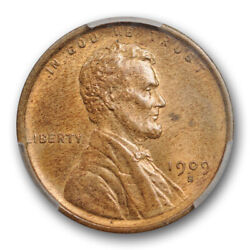 1909 S 1c Lincoln Wheat Cent Pcgs Ms 64 Rb Uncirculated Red Brown Key Date Ce...