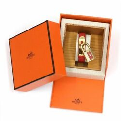 Authentic Hermes Kelly Women's Watch Red Dial Quartz Gold Plated G482372684