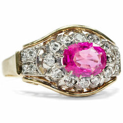 Vintage 150 Ct Ruby And Diamond Ring In 585 Gold 050 Ct Diamonds 1950er Years
