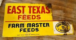Vintage Farm Master Feeds Tin Sign Pigs Cattle Horse East Texas Advertising
