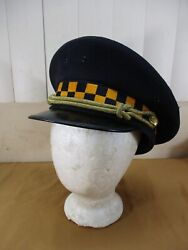 Vintage Chicago Retired Police Sergeant Hat Navy Yellow Checkers 7 3/8 Obsolete