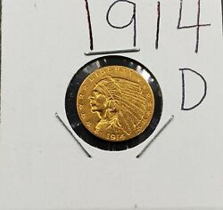 1914 D 2.5 Indian Head Quarter Eagle Gold Coin Bu Uncirculated Pre-1933 Us Type