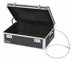 Locking Storage Chest Dorm Storage with Combination Black and White Polka Dot