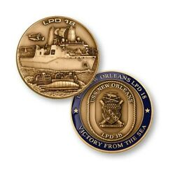 Navy Uss New Orleans Lpd-18 Victory From The Sea 1.75 Challenge Coin
