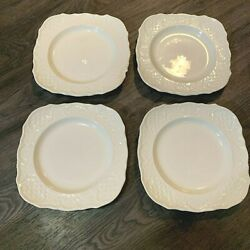 Canonsburg Pottery Square Salad Plates American Traditional White Set Of 4