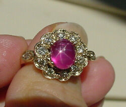 Vintage Natural No Heat Star Ruby And Diamond Ring In 14k Yellow Gold